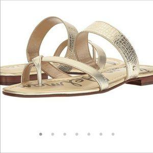 SAM EDELMAN || Bernice gold snakeskin sandals 7.5